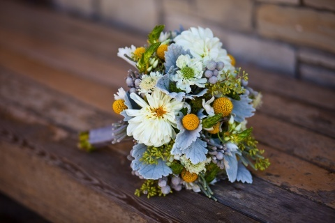 textured white and yellow bouquet with dahlias, scabiosa, star of Bethlehem, billy balls and accents