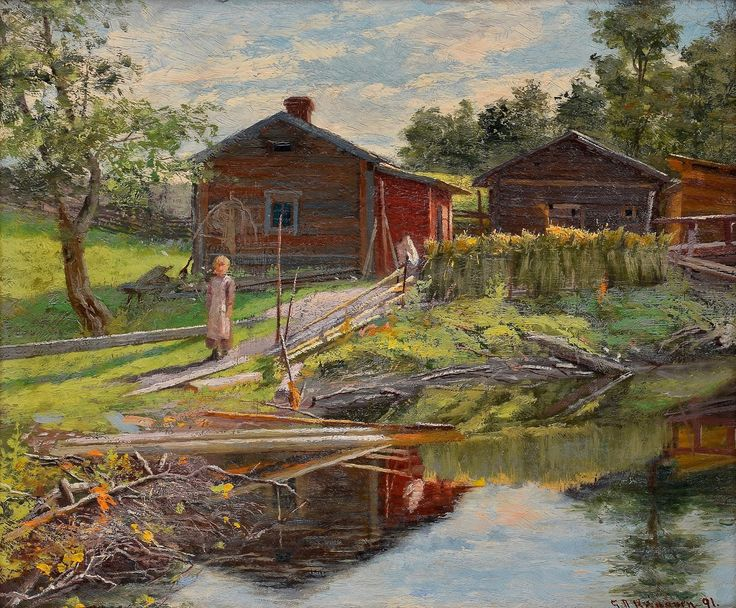 Sigfrid August Keinänen (1841-1914) - Summer by the Hut 1891 - Finland