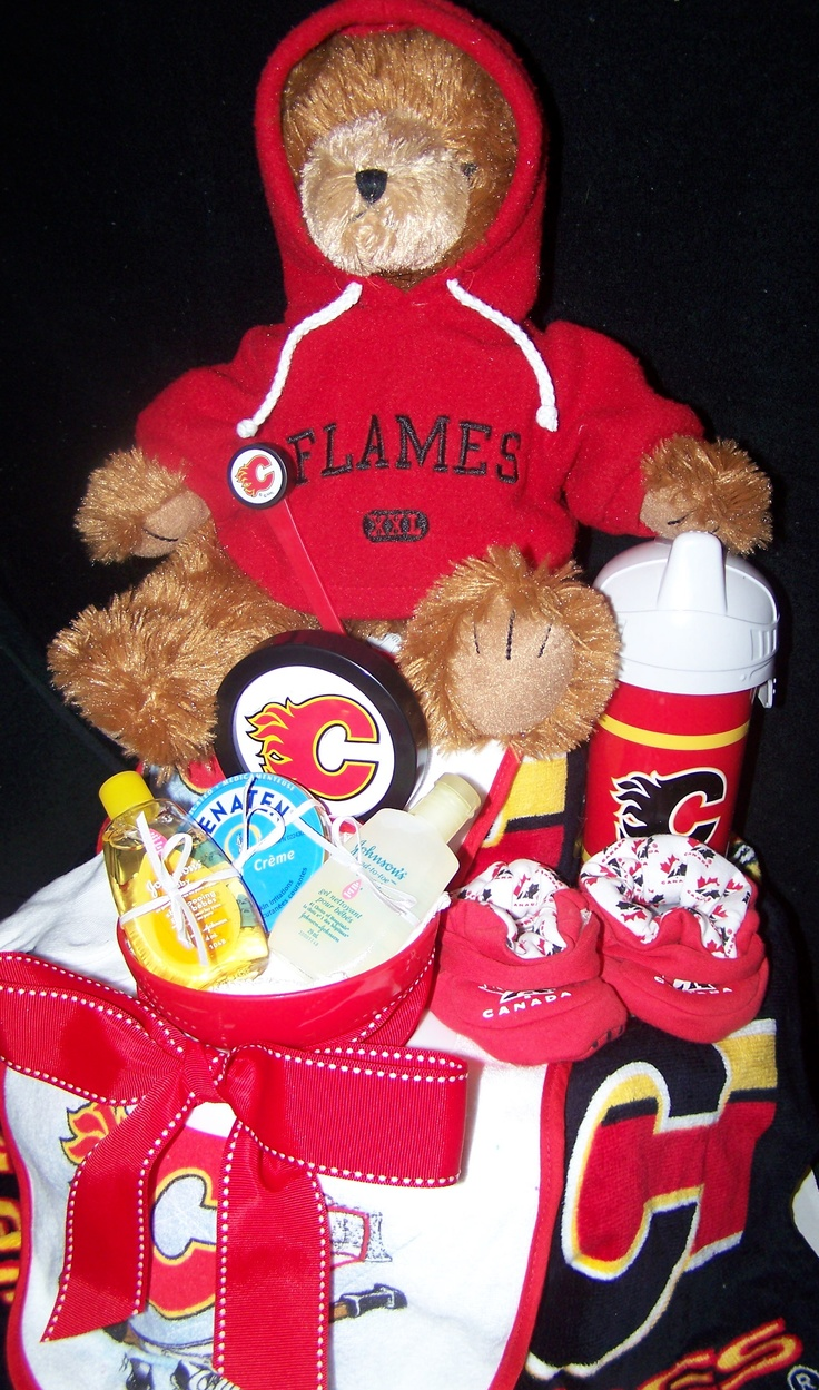 Calgary Flames Diaper Cake  www.cakeistry.ca