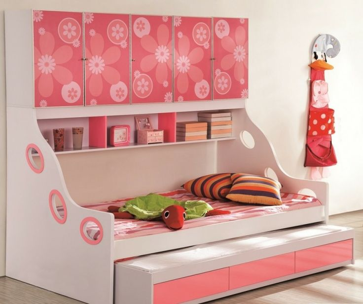 Stylish Kids Beds With Storage Designs Cute Pink Cabinet Design White Floral Decoration