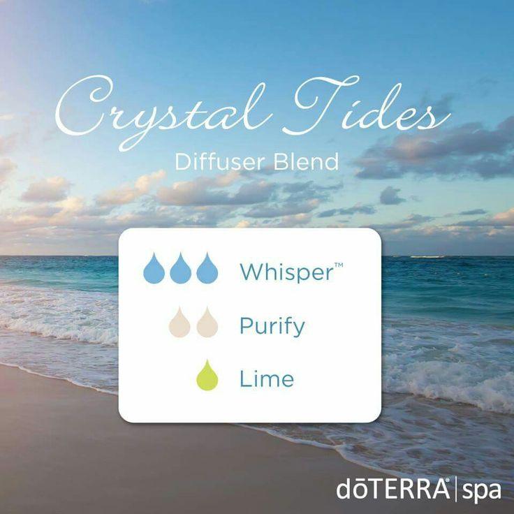 Crystal Tides DoTERRA essential oil diffuser blend 3 drops Whisper Blend 2 drops Purify Blend 1 drop Lime essential oil