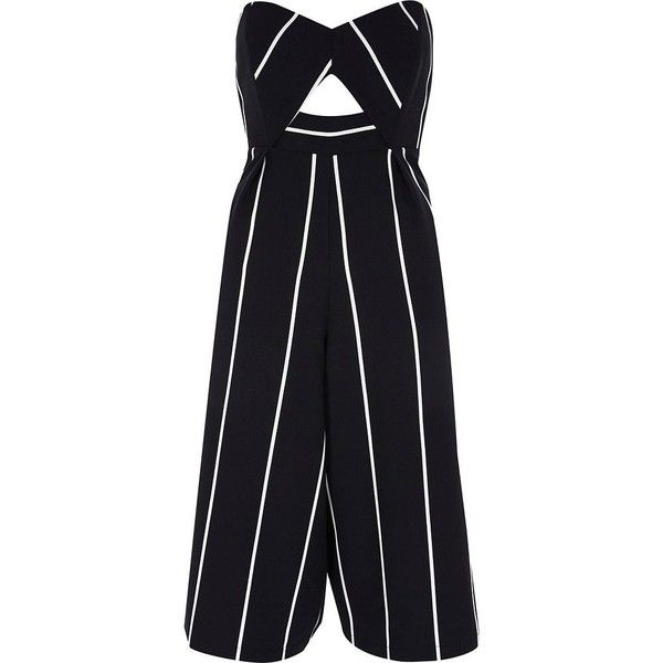 River Island Petite black stripe bandeau culotte jumpsuit ($100) ❤ liked on Polyvore featuring jumpsuits, river island, jump suit, petite jumpsuit, cut-out jumpsuits and cutout jumpsuits