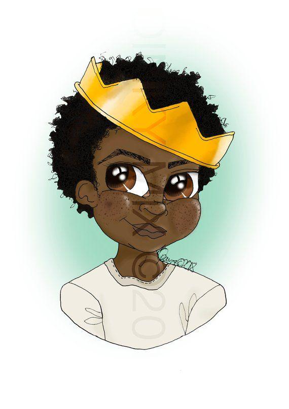 Melanin Prince King In Training Wall Art Crown Black Etsy Anime Boy Train Wall Art Africa Art