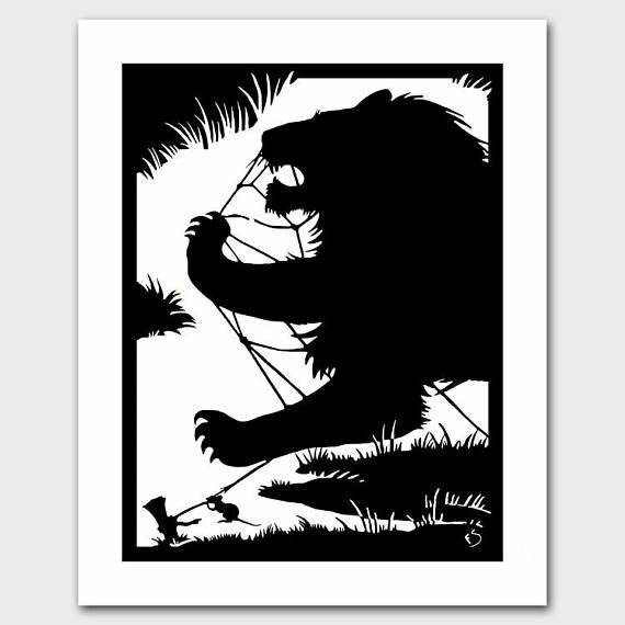 """Lion Art Print, Black and White Décor, Vintage Aesop's Fable Book Reproduction Print, 1930s WPA Silhouette by Cut Paper Artist Florence Sampson --- """"The Lion and the Mouse"""""""