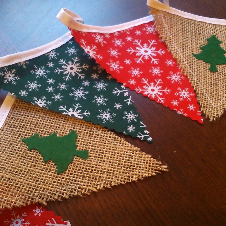 CHRISTMAS HANDMADE BUNTING VINTAGE SHABBY CHIC XMAS TREES BURLAP NORDIC in Home, Furniture & DIY, Celebrations & Occasions, Christmas Decorations & Trees | eBay
