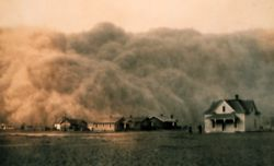 """The Dust Bowl was a period of severe dust storms. The phenomenon was caused by severe drought combined with farming practices. The wet time ended in 1930. April 14 1935 known as """"Black Sunday"""", 20 of the worst dust blizzards occurred turning day to night. The Dust bowl exodus was the largest migration in American history within a short period of time. In the fall 1939, after nearly a decade of dirt & dust, the nearly decade-long drought ended, as regular rainfall finally returned to the…"""