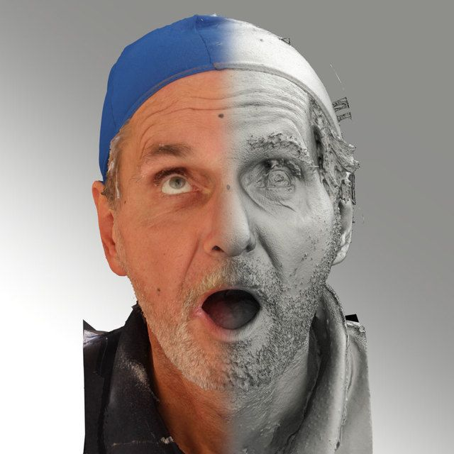 3D Head Scan Of Looking Up Emotion   Richard