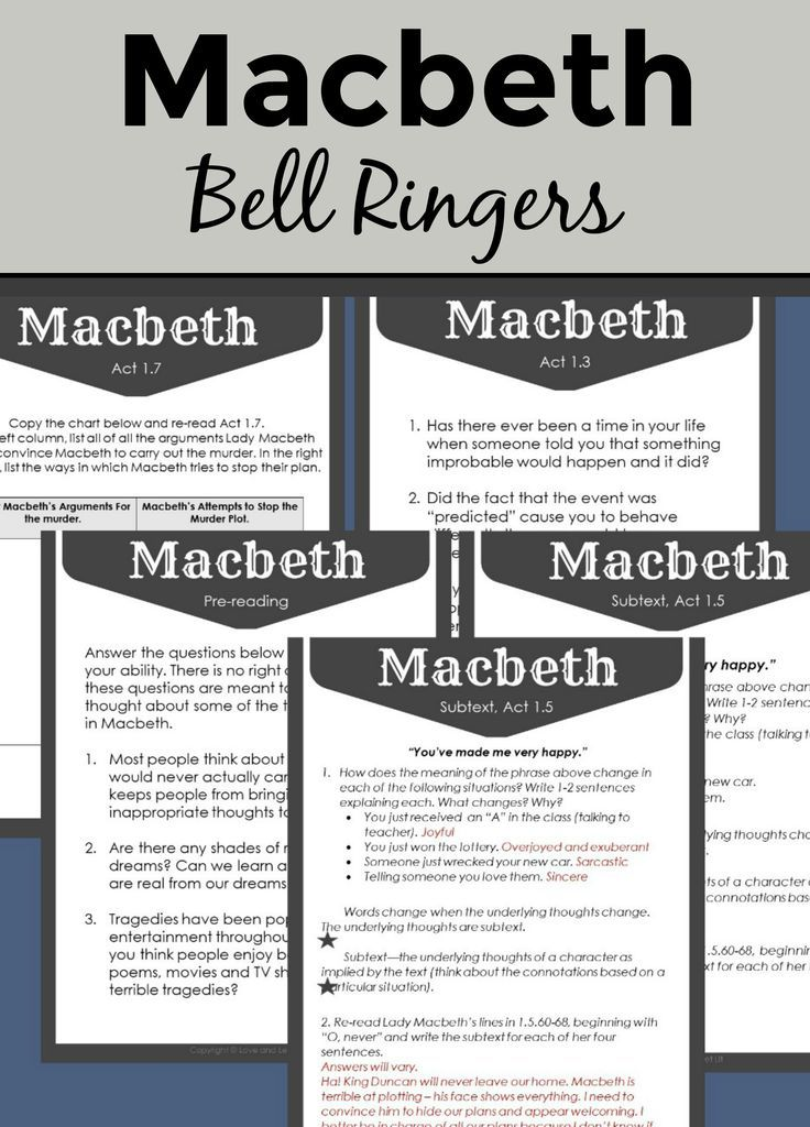 Start Each Day Of Your Macbeth Unit With An Engaging Entry Task 20 Journal Entrie Or Bell Ri Lesson High School Literature Plans Paraphrase Act 3