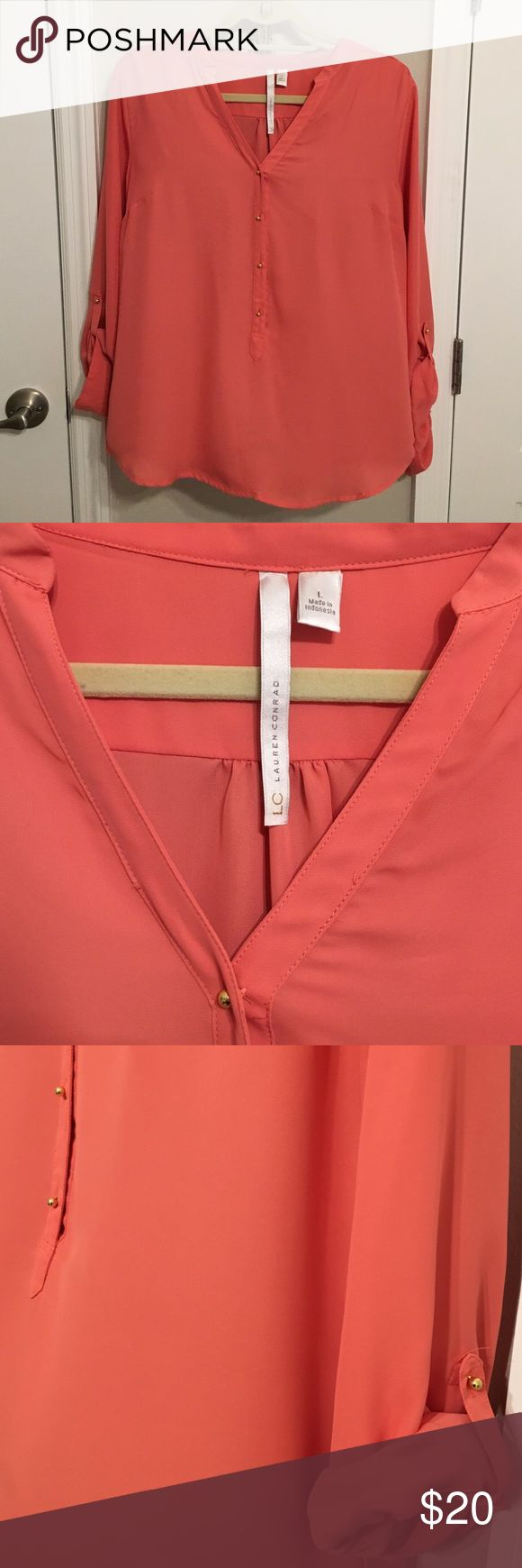 LC Lauren Conrad Coral Blouse Lightweight coral blouse with gold accent buttons. Perfect for spring and summer to dress up any look! LC Lauren Conrad Tops Button Down Shirts