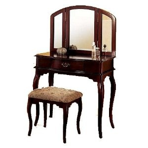 Amazon Queen Anne Style Cherry Finish Wood Vanity Set - Table, Bench & Mirror $130