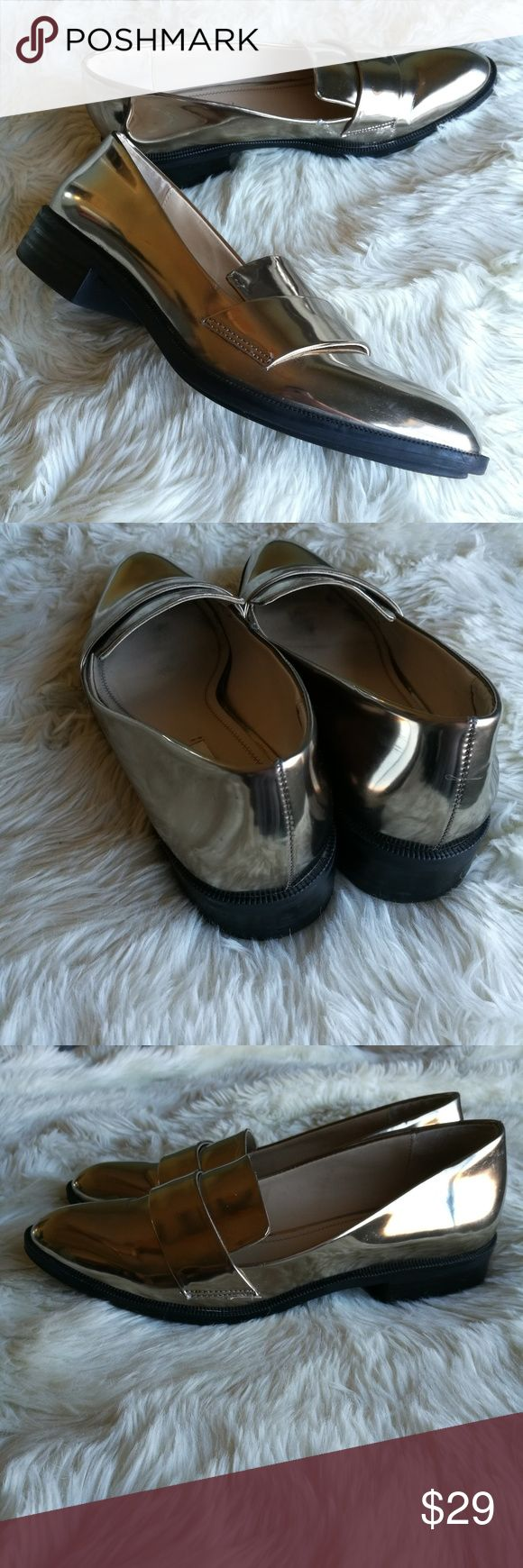 ZARA Loafer Flats Slide On Mule Shoes Size Zara metallic loafer slide on #mules. Metallic bronze and reflective. Black bottom soles. Small block heel. There are some scuffs and scratches as photographed. Size 38 Zara Shoes Flats & Loafers