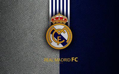 Descargar fondos de pantalla Real Madrid FC, 4K, club de fútbol español, La Liga, el logotipo, el Real Madrid CF emblema, de textura de cuero, Madrid, España, fútbol libre. Imágenes fondos de descarga gratuita