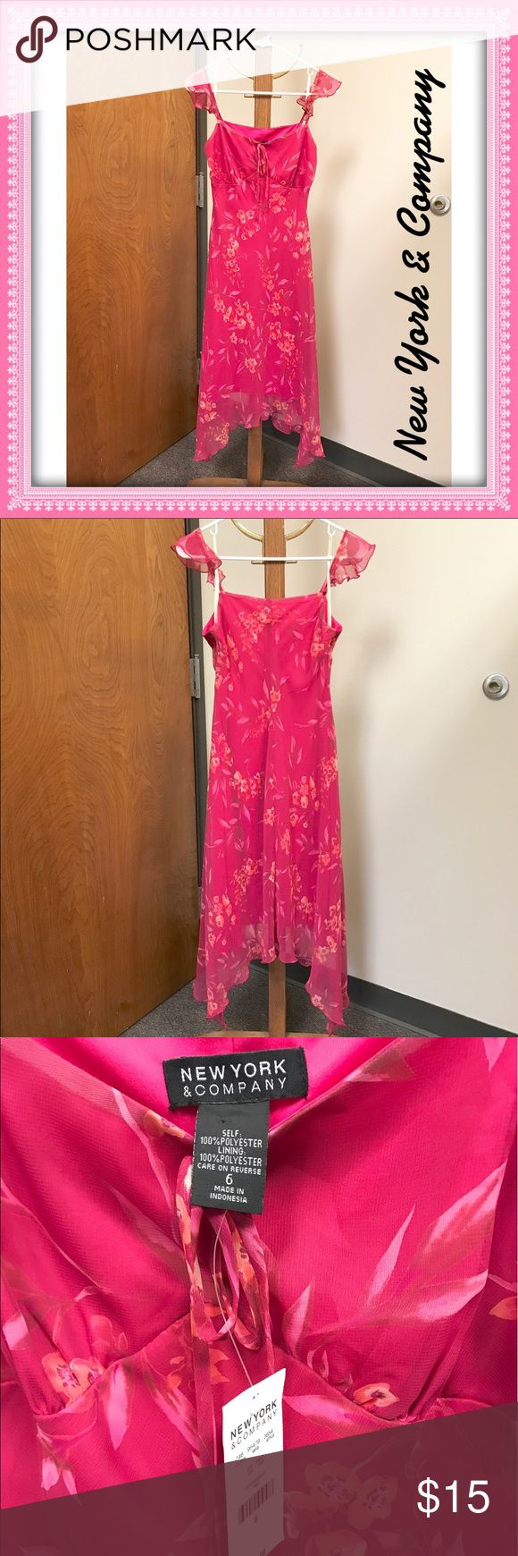 New York & Company Women's Sun Dress NWT Floral sun dress from New York & Company. Spaghetti straps with a little flutter. Faux front tie with flutter hem. Self and lining are 100% Polyester. Flat measurements armpit to armpit: 16.5-inches. NWT New York & Company Dresses Midi