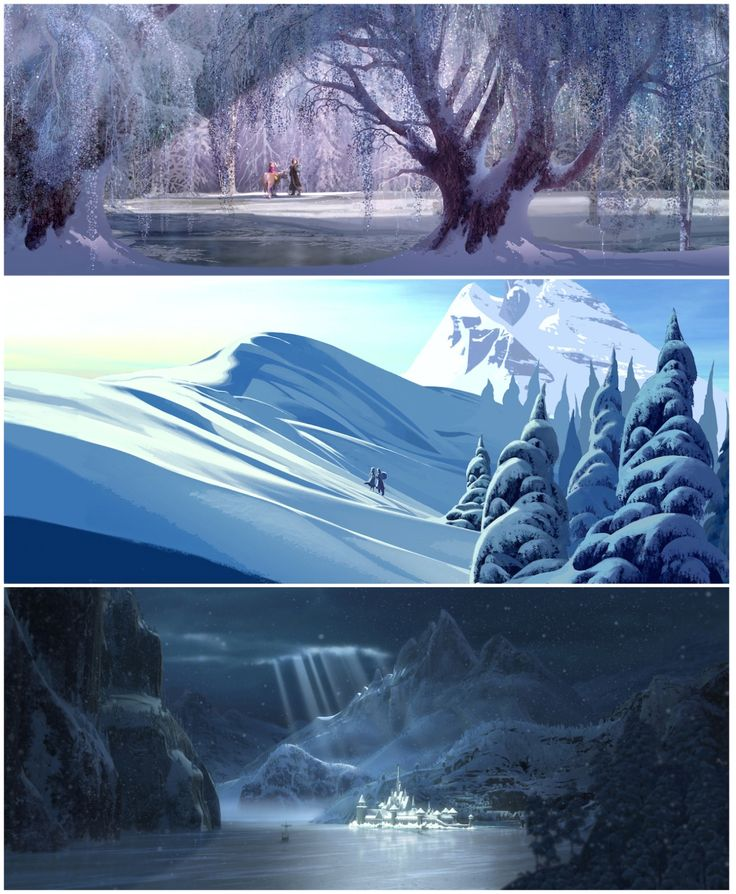 Here are the digital paintings for the concepts of the disney movie frozen. I love the cold air that is brought into each one. They are SO beautiful. One of my favorite of the three is the bottom. I love how the light is shining through on the dark snowy night and how you can see the snowflakes falling. Really reminds me of christmas and the winter season and gets me excited. It is cool how a digital painting can do that.