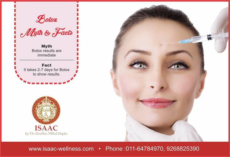 Botox Myth v/s Fact Myth- Botox results are immediate Fact- It takes 2-7 days for Botox to show results. To know more about Botox, book an appointment with ISAAC, NOW!