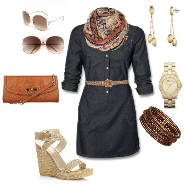 Summer jean dress with wedges and a scarf for cool nights.