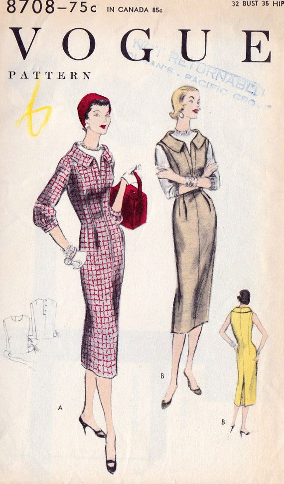 1950s Dress or Jumper and Dickey Vintage Sewing by MissBettysAttic, $20.00