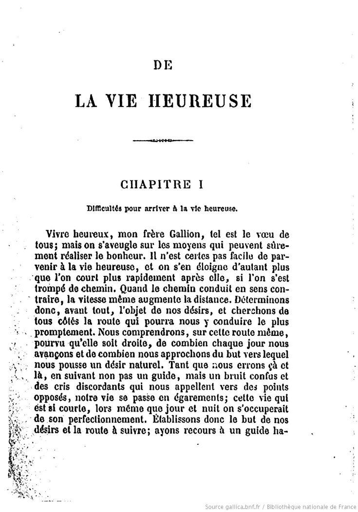 De la vie heureuse / Sénèque ; traduction française, par un professeur de philosophie | Gallica