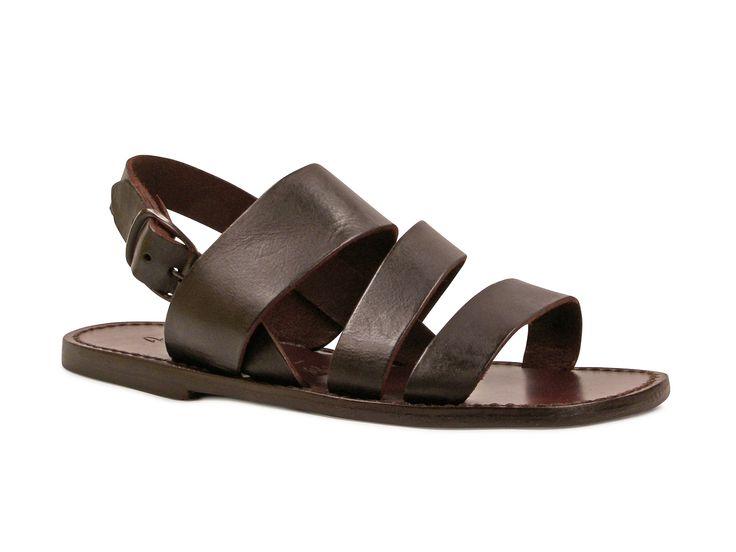 Sandales en cuir artisanales marron fait en Italie - Italian Boutique €68