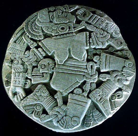 """Coyolxauhqui (pronounced coh-yohl-SHAU-kee) is the Aztec Goddess of the moon and the Milky Way. Her name means """"golden bells"""", and she is the eldest daughter of the earth Goddess Coatlicue"""