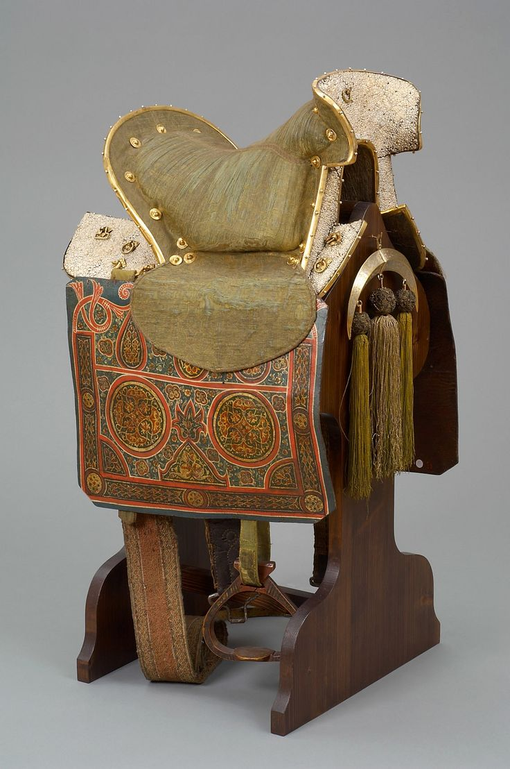Velvet saddle by Anonymous from Russia, ca. 1570-1580, Kunsthistorisches Museum, the saddle was one of the war booties captured by Stephen Báthory during the Siege of Pskov