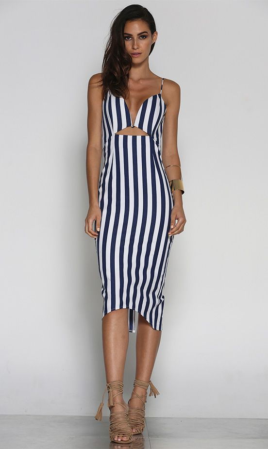 SANDUNE DRESS – BLUE STRIPE | Runaway The Label