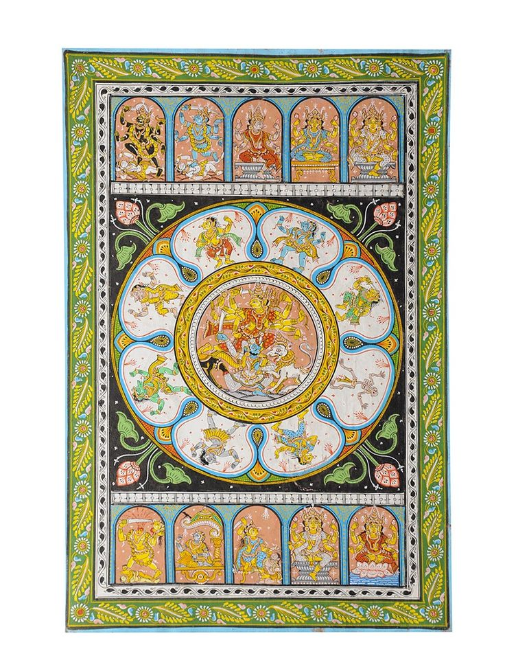 Multicolor Pattachitra Dashamaha Vidya of Durga on Paper 18in X 11.7in Art Traditional Textile Divine Scroll Paintings in Silk & Palm Leaves from Odisha Online at Jaypore.com