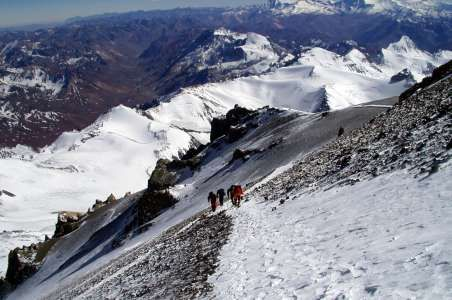 Looking down during climbing Aconcagua.