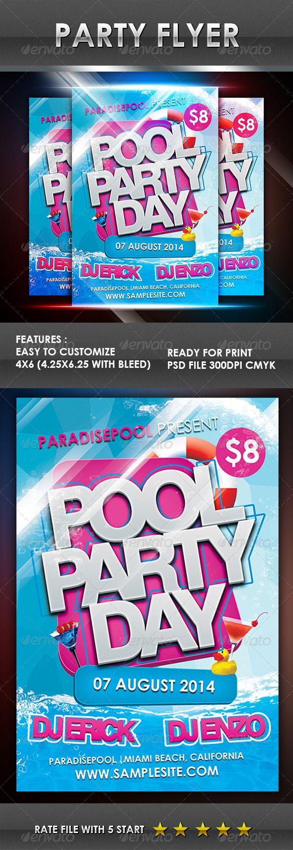 Pool Party Flyer GraphicRiver Stay Update and Get