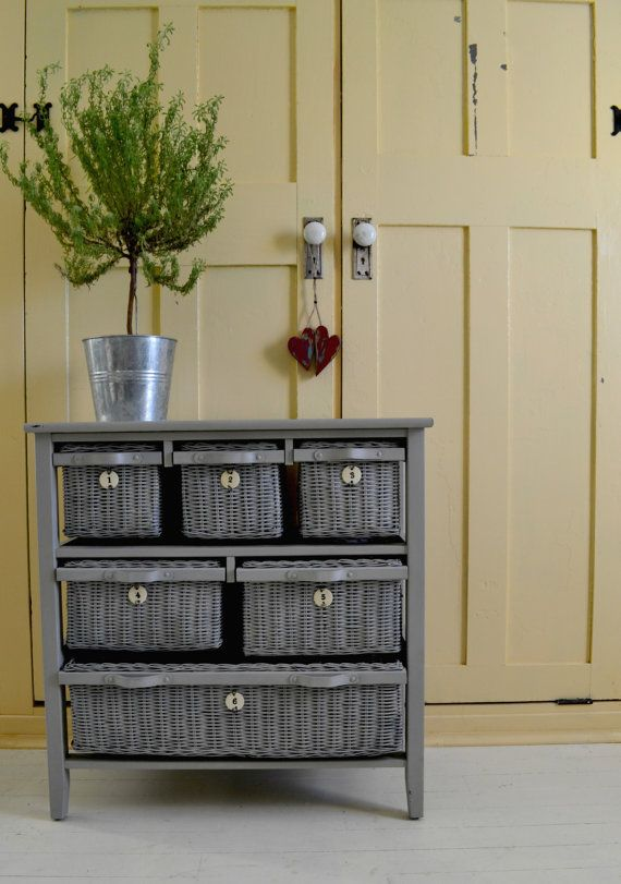 Wicker Drawer Dresser 6 Drawers Dove Gray Chalkpaint Fi