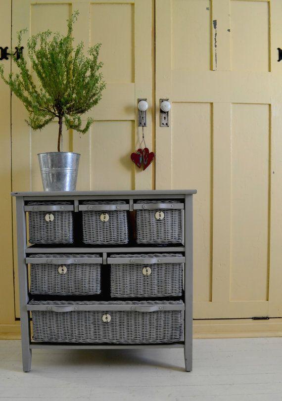wicker drawer dresser  6 drawers  dove gray chalkpaint fi