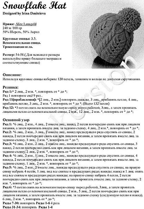 Описание вязания шапки спицами с помпоном