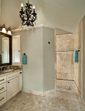 Old Shepard Master Bath Walk In Shower River Rock Floor Massages Feet Stone And Mosaic Glass Design