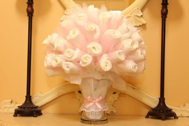 Diaper Bouquet DIY - instead of diaper cake for new mom/shower!
