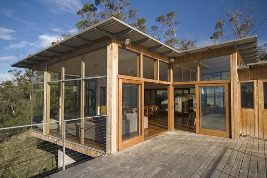 Macracarpa Pine Decking of Coastal Residence in Tasmania by Dock4 Architecture