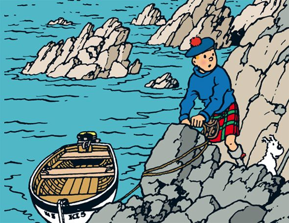 The Black Island-On his return from South America, Tintin embarks on an exciting British adventure, full of unexpected surprises. Tintin clashes with the villainous Dr. Müller for the first, but not the last time. Müller is the mastermind behind a vast European counterfeiting operation. After numerous incidents, Tintin succeeds in breaking up this criminal network.