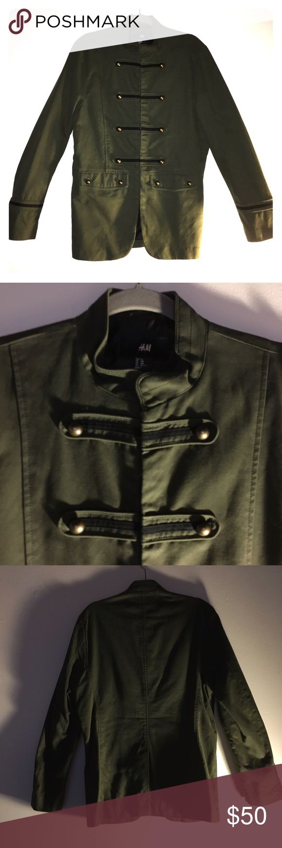 Men's Military Style Jacket NWOT excellent condition army green jacket. Black piping on sleeves and down the front. Brass colored buttons. Exterior 100% cotton, lining 100% polyester. Hook and eye clasps. No fading, defects or signs of wear. Reasonable offers welcome! H&M Jackets & Coats Military & Field