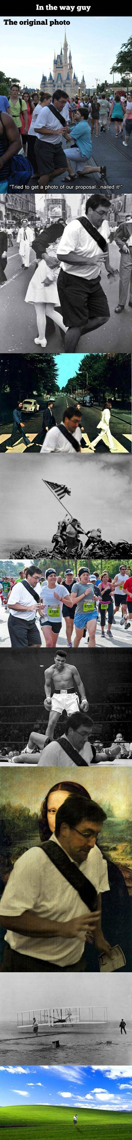 """""""In the way"""" guy gets in the way of famous photos."""