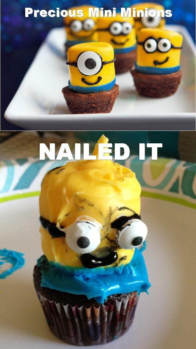 Found these adorable minions at tablespoon.com. My trial run didn't quite meet the expectation. Nailed it....Pinterest Fail #funnypictureswithoutcaptures