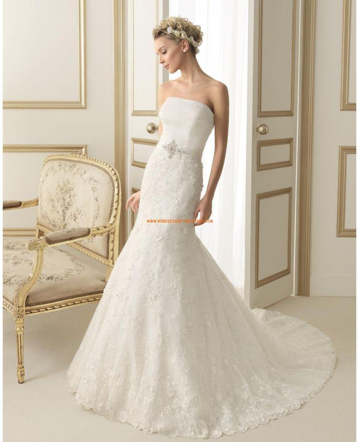 Robe de mariée évasé dentelle bustier avec ceinture
