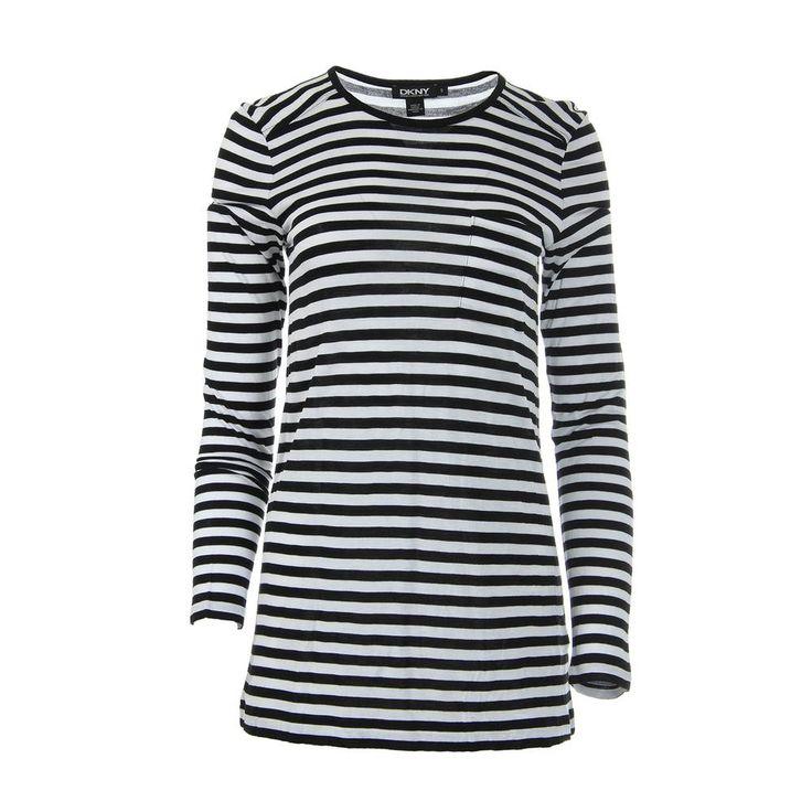 Donna Karan Womens Striped Long Sleeves Casual Top