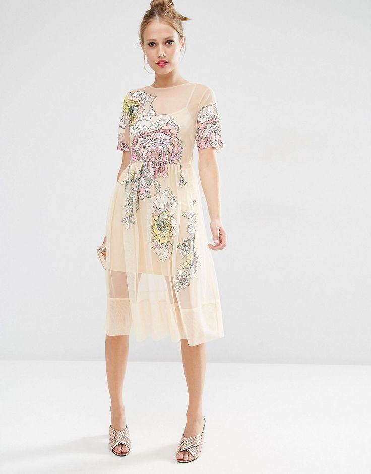 Image 1 of ASOS SALON Embroidered Floral Mesh Midi Dress