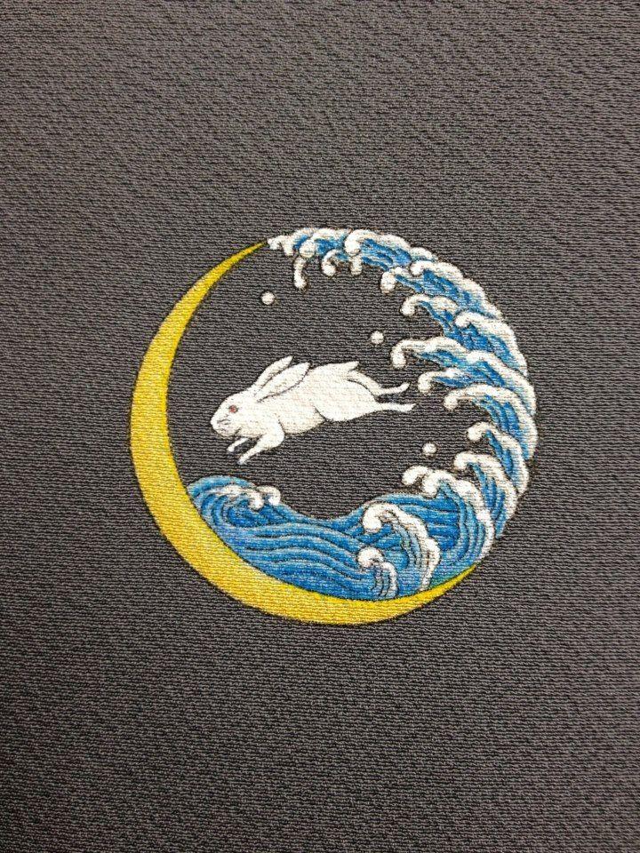 "Japanese traditional family crest, kamon ""Yuu-Nami-Usagi"" 家紋,夕浪兎"