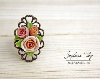 Beige rose Adjustable Ring, flowers ring, vintage ring , jewelry , bronze