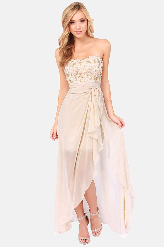 oh if this came in mint for the bridesmaid dresses!! Whole Wide Whirl Beige Sequin Dress at LuLus.com!