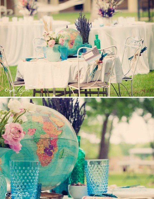 globe center pieces! goes with our theme of nations we're called to/have a heart for