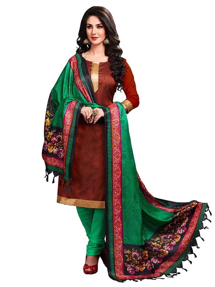 Phenomenal brown color jute silk kameez. Item Code : SLEB13009 www.bharatplaza.com/new-arrivals/salwar-kameez.html