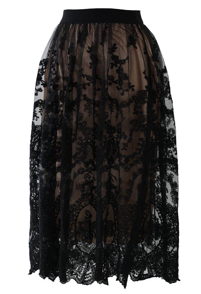 Black Crochet Floral Lace Skirt <3