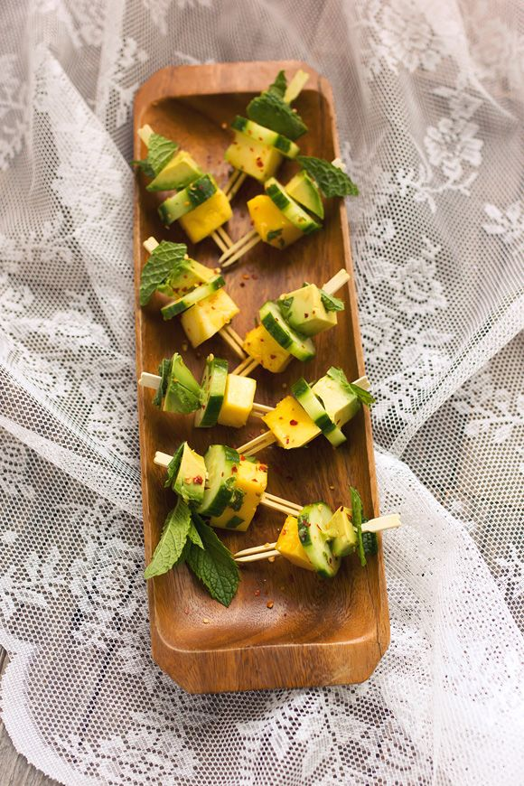 Mango, Avocado, Cucumber, and Mint (maybe with basil) Bites   The best appetizer…