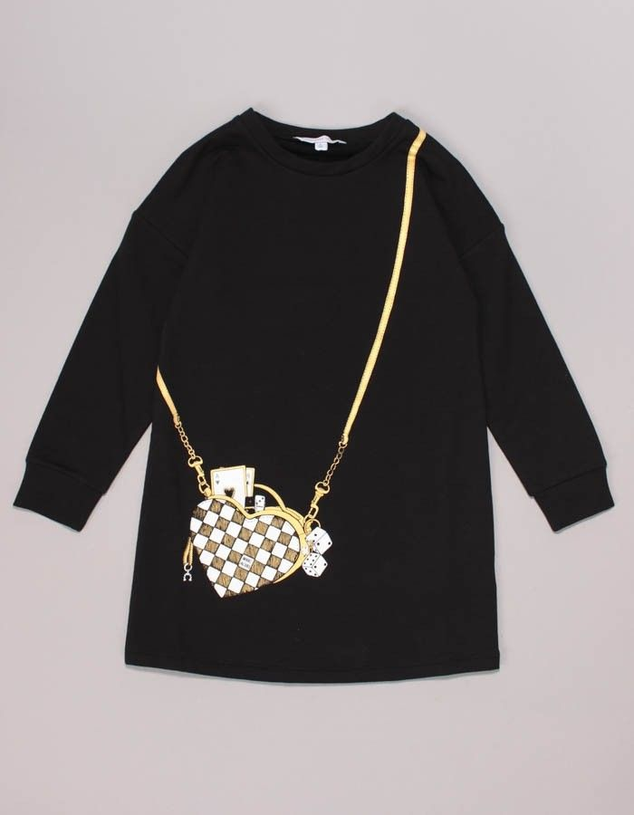 Marc Jacobs Black Long Sleeved Jumper Purse Logo Dress | Accent Clothing